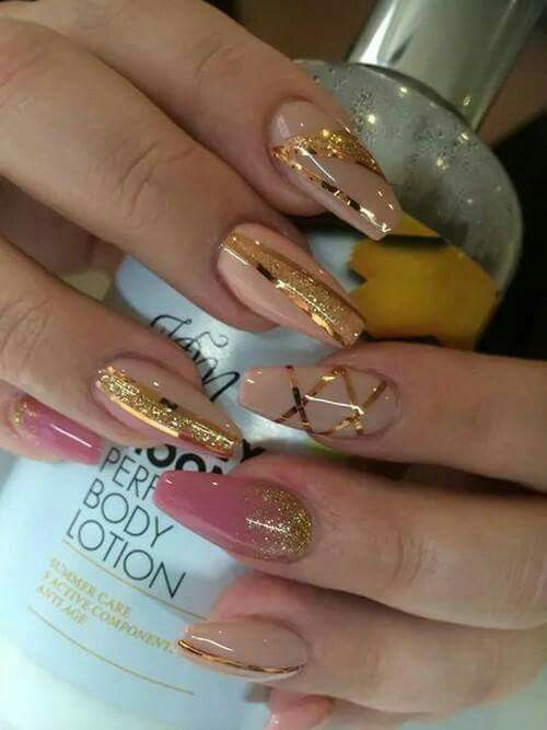 Nude and golden nails