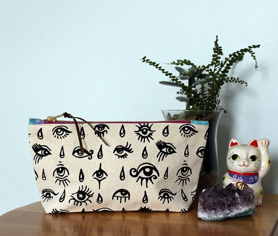 Eyes & Tears printed pouch  gussets by PrintsandNeedles on Etsy