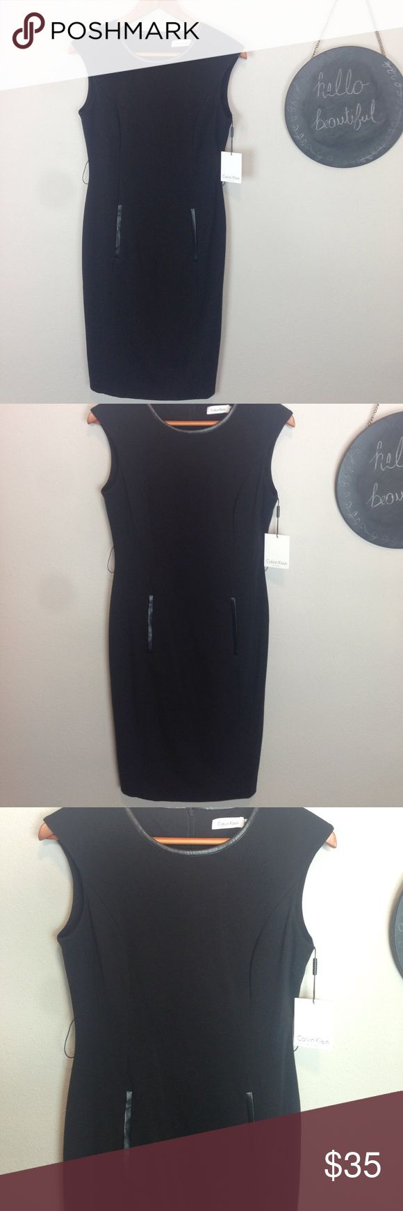 Calvin Klein Black Dress Size 4 *missing Belt NWTs 77% polyester, 20% Rayon, and 3% spandex. Dry clean. Has tag attached but is missing Belt. You could probably cut the belt loops off easily! Calvin Klein Dresses