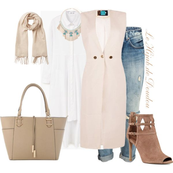 Hijab Outfit by le-hijab-de-doudou on Polyvore featuring polyvore, fashion, style, MANGO, Nine West, Eloquii, Vero Moda and clothing
