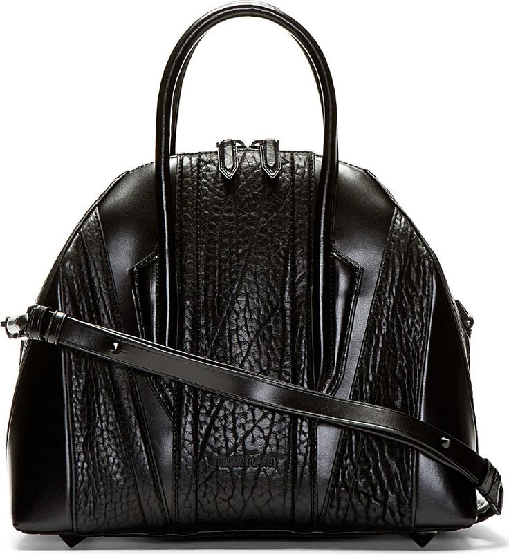 Structured leather bag in black. Textured panelling ...