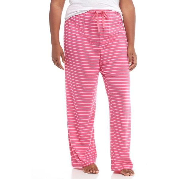 New Directions Stripe Plus Size Stripe Pajama Pant - Women's ($22) ❤ liked on Polyvore featuring plus size women's fashion, plus size clothing, plus size intimates, plus size sleepwear, plus size pajamas, stripe, plus size pyjamas, plus size pj pants, cotton jersey and plus size womens sleepwear