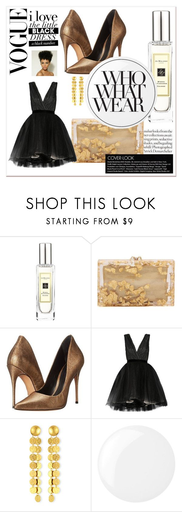 """""""BAM GLAM!"""" by jennifer-de-la-o ❤ liked on Polyvore featuring Jo Malone, Charlotte Olympia, Schutz, Alice + Olivia, Gurhan, Essie, Who What Wear, chic, gold and black"""