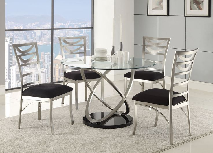 Tapia Dining Collection :: Table for 4? Comfty microfiber seating and a 5 times stronger tempered glass atop a silver metal base. So impressive.