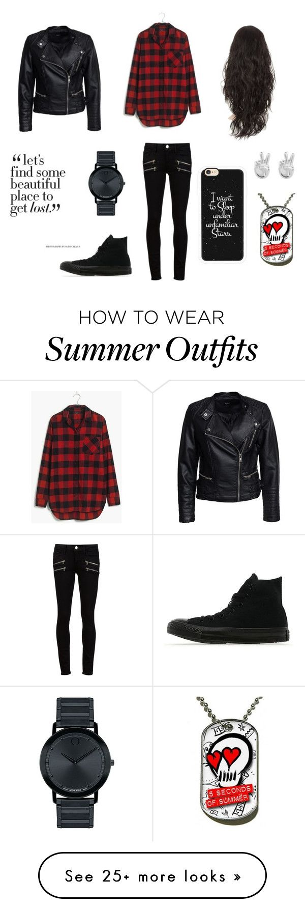 """Outfit 1"" by wonder-world on Polyvore featuring Madewell, Sisters Point, Paige Denim, Converse, Casetify, Rock 'N Rose and Movado"