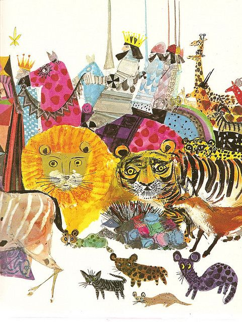 """A Child's Garden of Verses by Robert Louis Stevenson; Illustrations by Brian Wildsmith. 1966.    """"So fine a show was never seen,   At the great circus on the green;   For every kind of beast and man  Is marching in that caravan."""""""