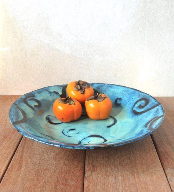 Large Ceramic Bowl Ceramic Serving Bowl Fruit by ShellyClayspot