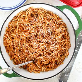 One Pot Spaghetti, a recipe from the ATCO Blue Flame Kitchen.