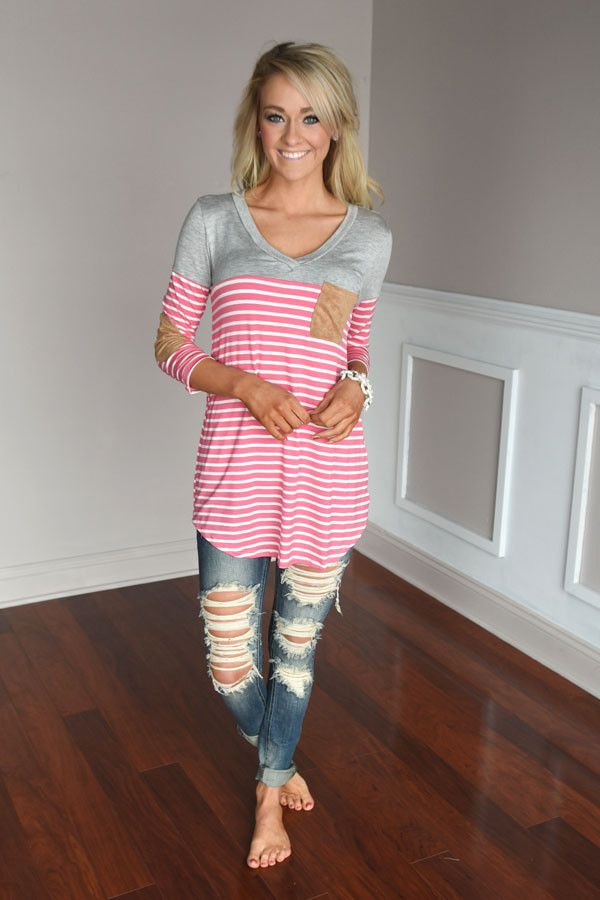 Pink Striped Elbow Patch Top – The Pulse Boutique
