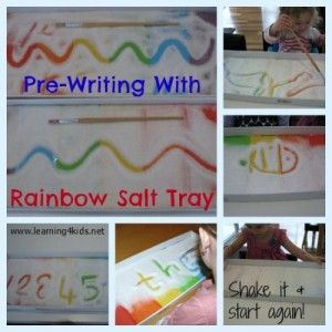 Draw pictures, create patterns and practise writing your name with this simple to make and Rainbow Salt Tray. It is a great activity for toddlers right up to older kids. So simple and inexpensive to set up! #colouractivities #finemotoractivities #numberactivities