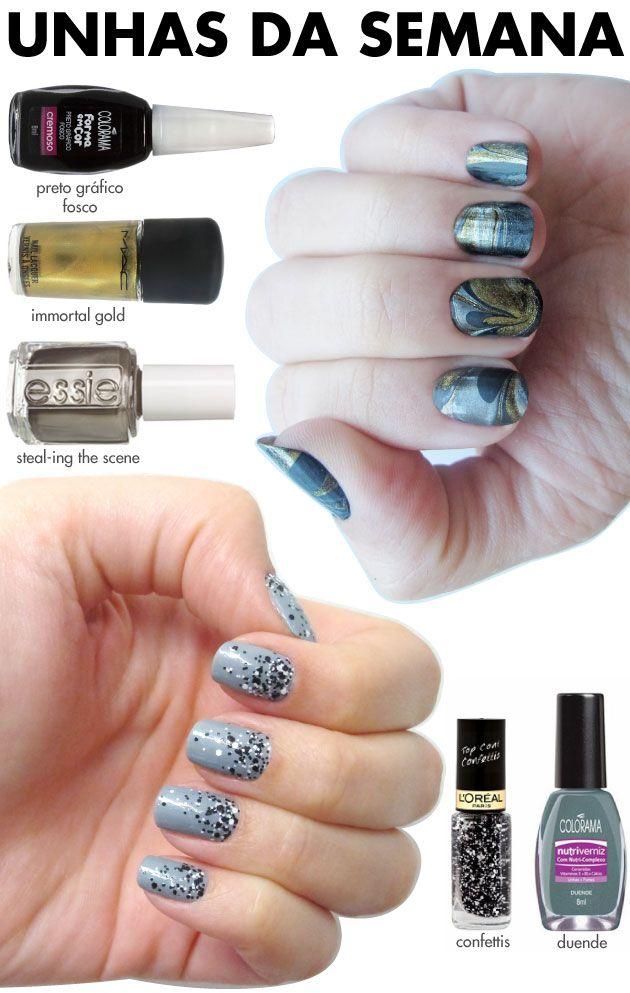 unhas de segunda, unhas diferentes, nail art, splash nails, confetti, L'Oréal riche, esmalte, top coat, duende colorama, marble nails, preto fosco, immortal gold mac