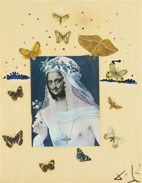 Salvador Dali. Autoportrait à la Mona Lisa 1973. Collage, watercolor and oil on board