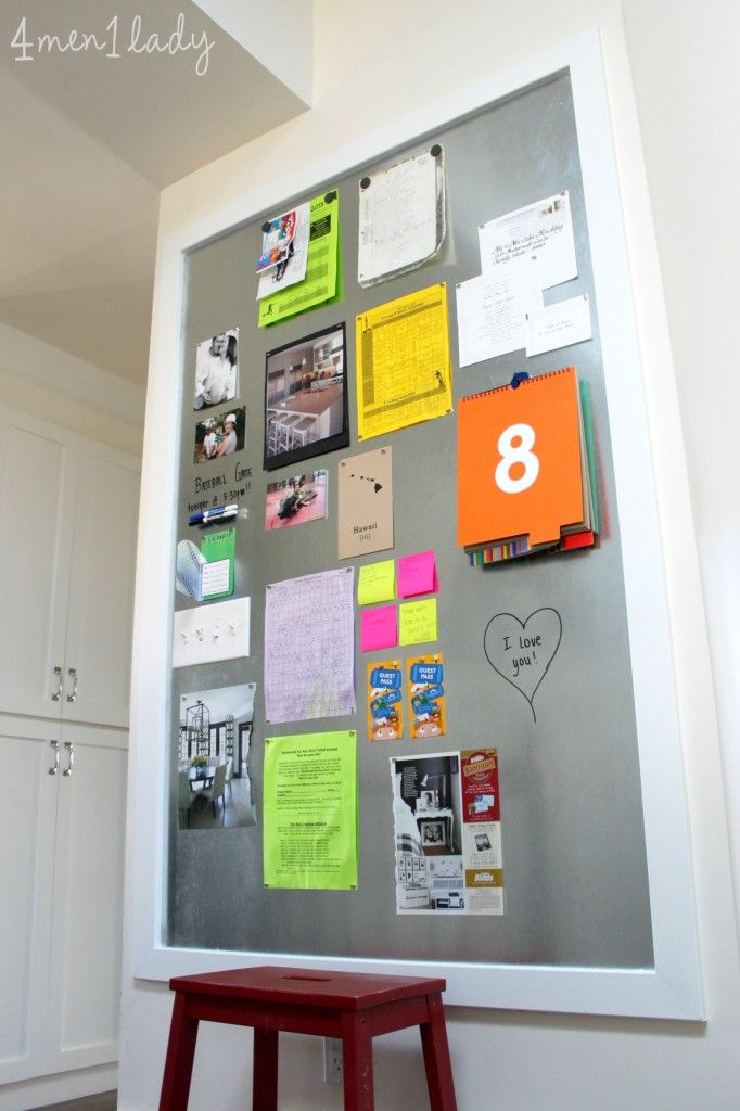 Large DIY magnet board.  Great details to make family message center.  Can do dry erase on it too!