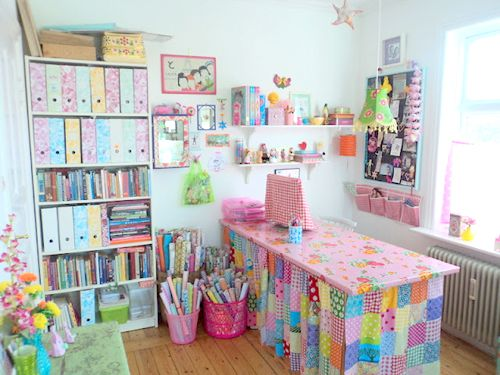 super sweet craft room: Colors Crafts, Sewingcraft Roomidea, Crafts Rooms, Crafts Spaces, Work Spaces, Colors Palettes, Rooms Ideas, Rooms Crafts, Sewing Rooms