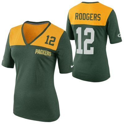 Nike Aaron Rodgers Green Bay Packers Ladies My Player Top Tri-Blend V-Neck T -Shirt - Gold/Green