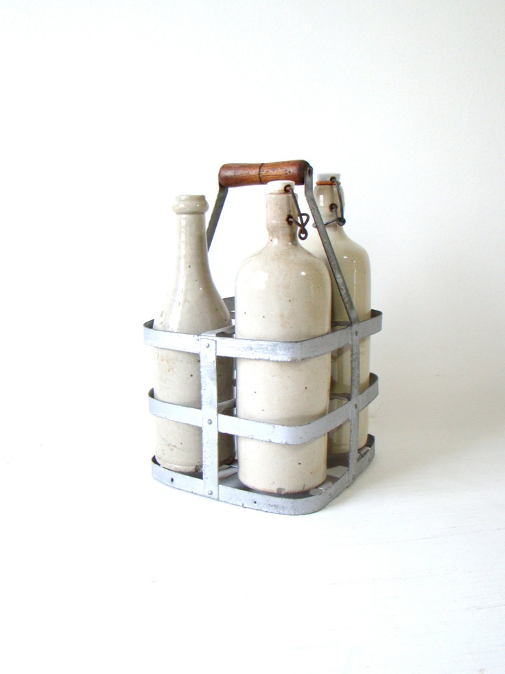 French metal bottle carrier shabby chic french home decor 1930s wine bottle carrier french - Wire wine bottle carrier ...
