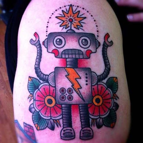 tattoo old school / traditional nautic ink - robot (by Alex Strangler)