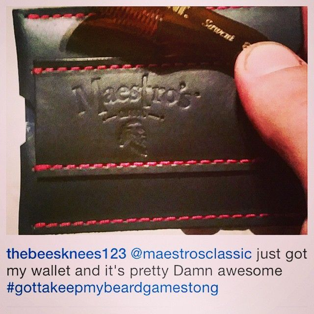 @thebeesknees123 Welcome Maestro Thanks for being undeniably good at spreading the news about Maestro's Classic Custom Made Leather credit card wallet holder with money clip and small stache comb!