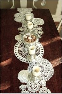 doily runner - potential use for misc. inherited doilies & crochet pieces; can be all dyed to same color to match decor, e.g. deep burgundy?