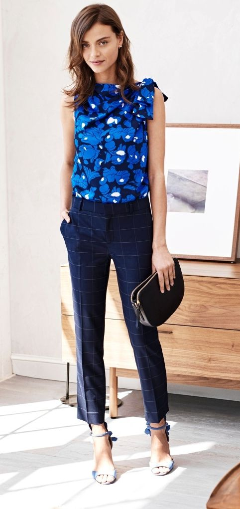 Mix and match patterns and prints for a chic office ready look by pairing our ultra flattering windowpane pant with our feminine blue print sleeveless blouse | Banana Republic