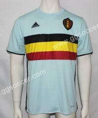 2016 European Cup Belgium Away Blue Thailand Soccer Jersey