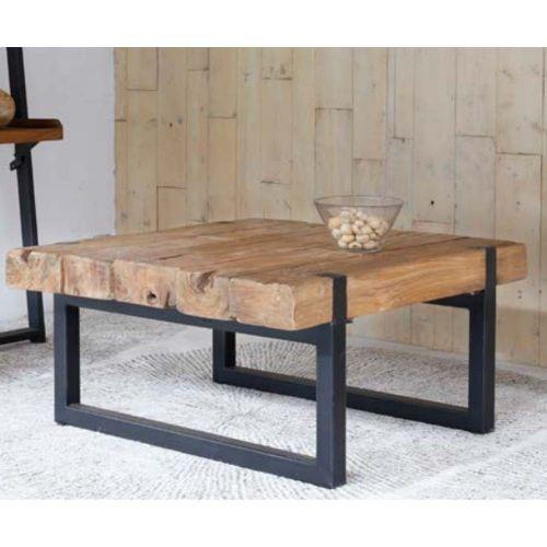 Table basse teck et métal recyclés CELEBES 90cm carrée
