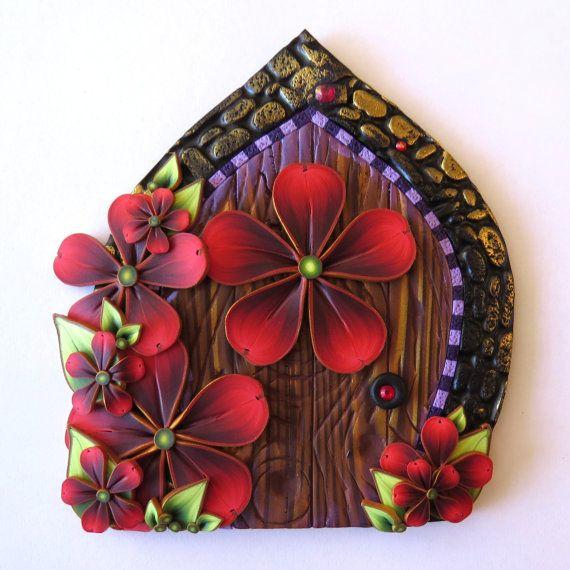 Red Flower Garden Fairy Door Miniature Pixie Portal by Claybykim