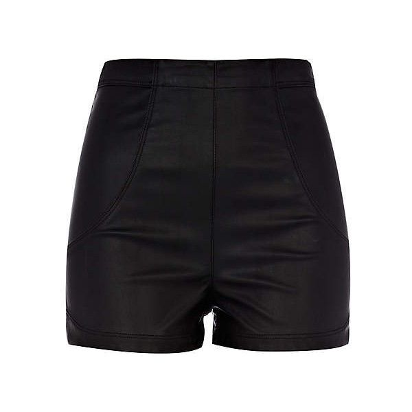 Black leather look high waisted shorts - smart shorts - shorts - women... ❤ liked on Polyvore