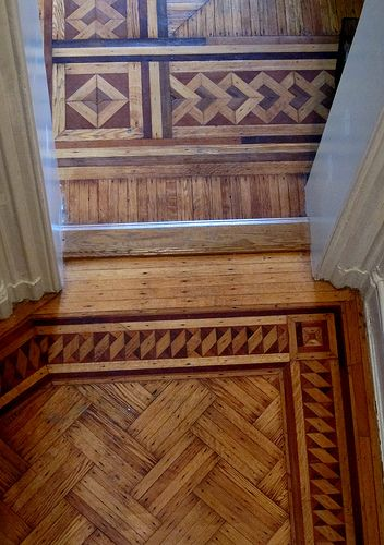 Wood Borders and Parquet in Clinton Hill, Brooklyn, brownstone.