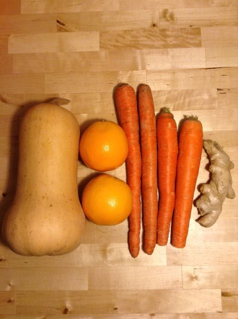 Squash-Orange-Ginger Soup. Get the recipe at: http://kristenyarker.com/blog/squash-orange-ginger-soup