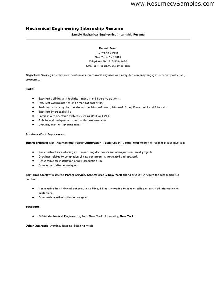 Resume For Engineering Internship - Hlwhy