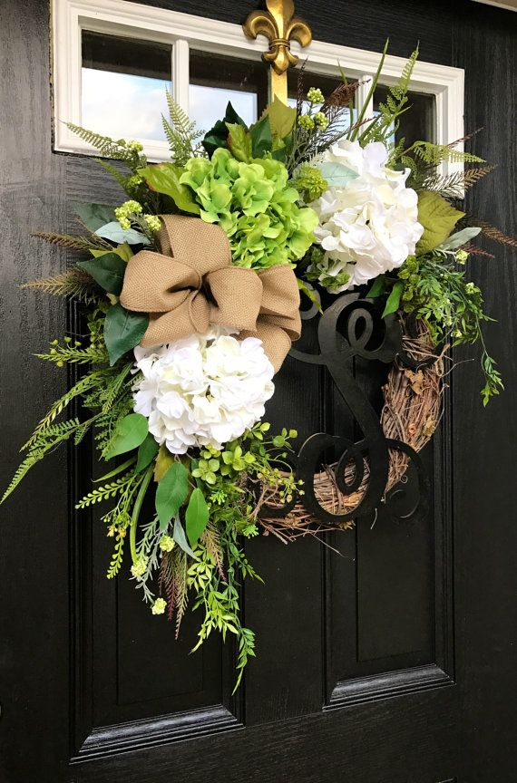 Summer Wreaths for Front Door Burlap Wreaths by FleursDeLaVie
