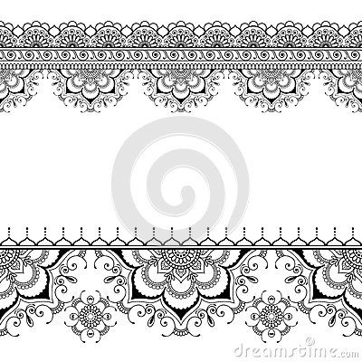Indian mehndi henna border floral pattern elements card for tattoo on white background.