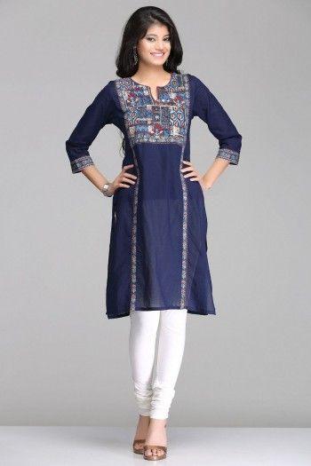 Abstract Dark Blue Straight Cotton Kurta By Farida Gupta