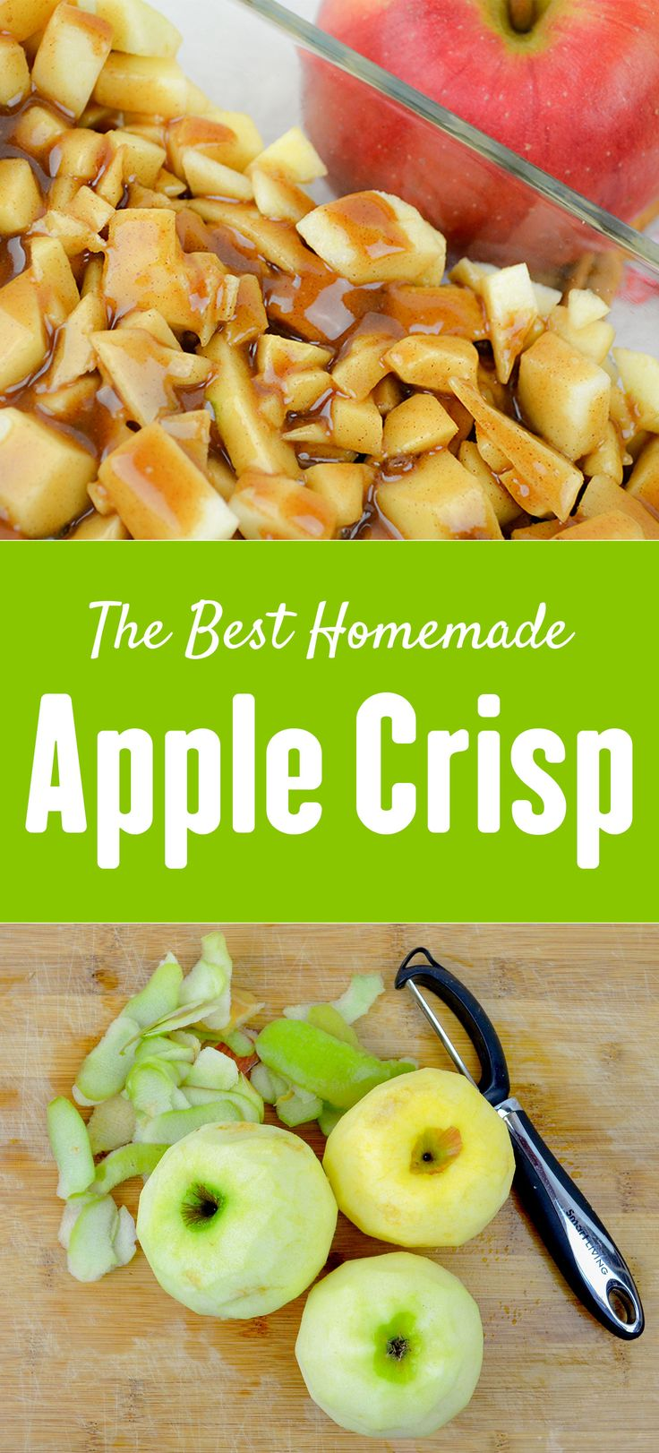 THE BEST homemade apple crisp! I think the secret it the splash of lemon and the bursts of caramel! They should call it Caramel Apple Crisp! This is my favorite apple recipe.