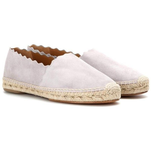 Chloé Lauren Suede Espadrilles ($570) ❤ liked on Polyvore featuring shoes, sandals, grey, gray sandals, grey shoes, chloe espadrilles, grey espadrilles and chloe sandals
