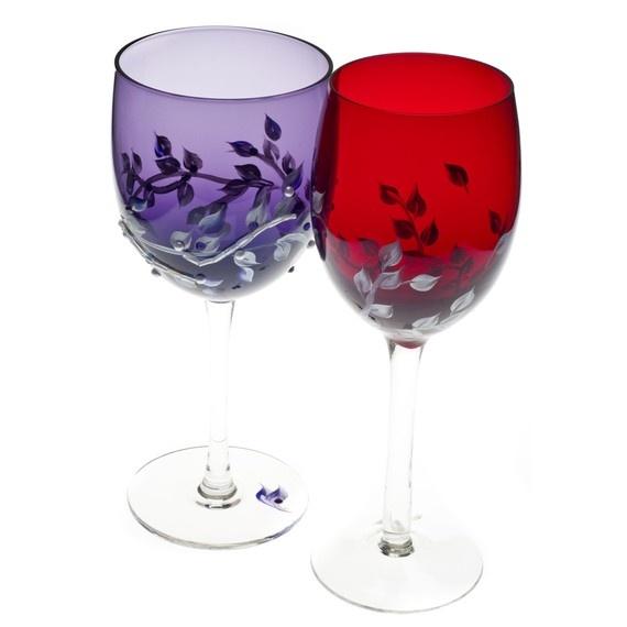 Hand Painted Purple Wine glasses Swarovski by HandpaintedGifts, $65.00