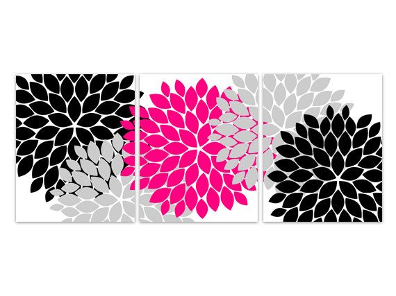 Home Decor Wall Art, Hot Pink And Black Flower Burst Art, Bathroom Wall  Decor Part 71