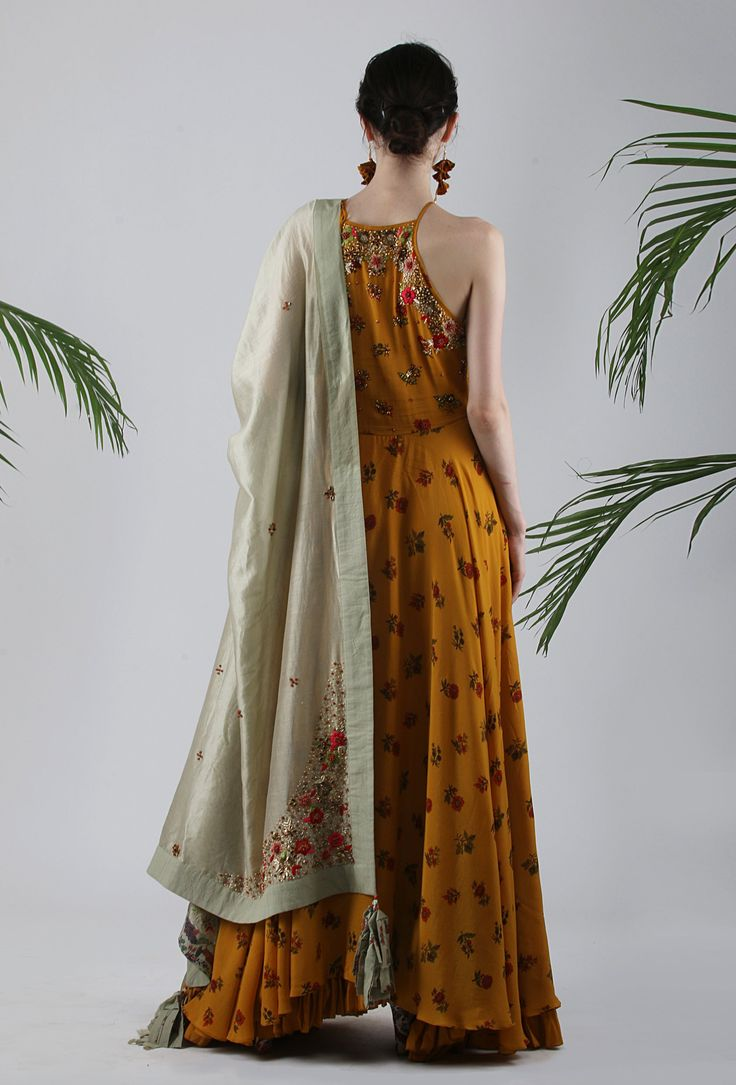 b7cc367e562f084cf6dffdc2761e96ac - Lilly Special Edition Chintz Printed Crepe Kalidar In Ochre With Organza Embriod...