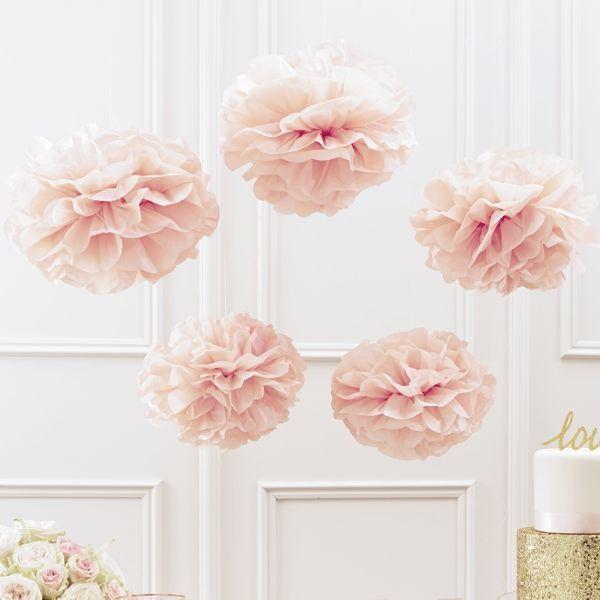 Pom Poms   Set   Pastell Rosé   3x Groß   2x Klein   Sweetwedding