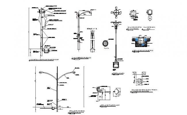 Electrical Light Poles Of Hospital Elevation And Installation Details Dwg File Light Pole Electric Lighter Electrical Layout