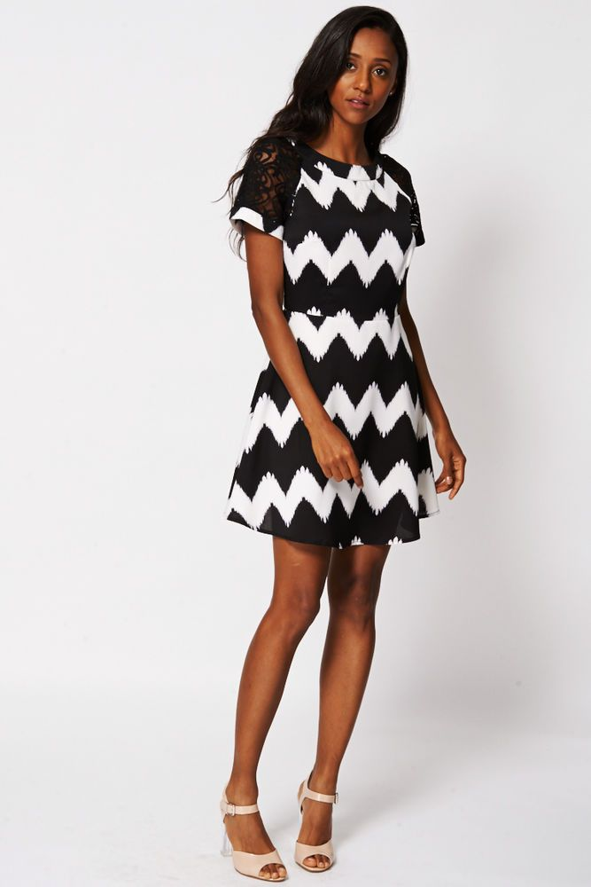 Sale New Black & White Skater Style Dress