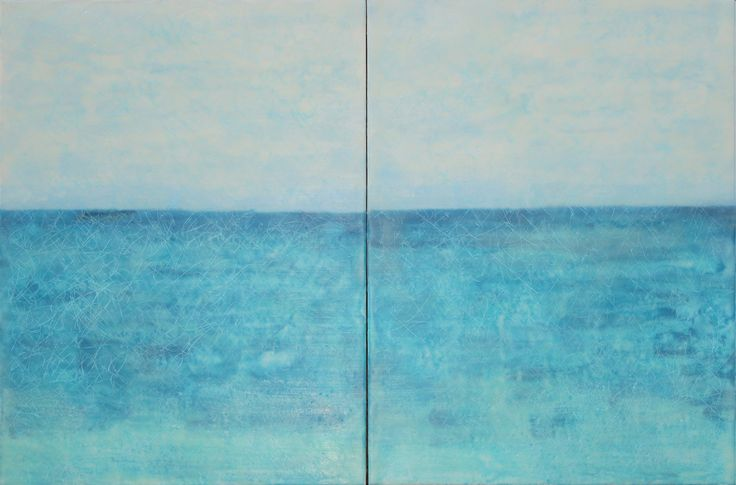 """Ocean View, Diptych"" by Patricia Dusman - 36 x 24, encaustic and oil, at the J. A. Willy Gallery in Naples, Florida."