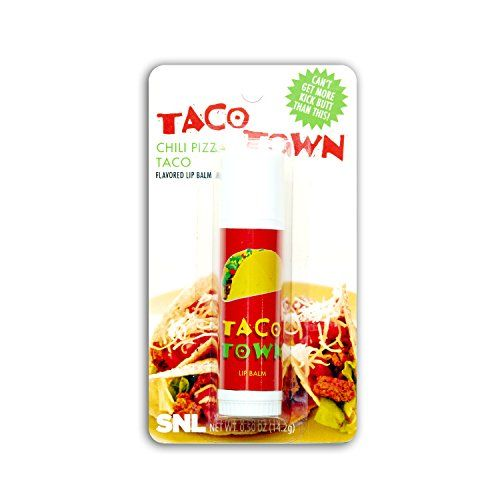 SNL Taco Town Lip Balm Saturday Night Live $4.99  http://www.amazon.com/gp/product/B00NG1I99O/ref=as_li_qf_sp_asin_il_tl?ie=UTF8&camp=1789&creative=9325&creativeASIN=B00NG1I99O&linkCode=as2&tag=easmononl01-20&linkId=BYDEMFMNZ2IMNPC4
