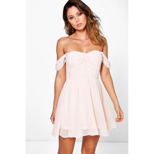 Silver Off the Shoulder Skater Dress