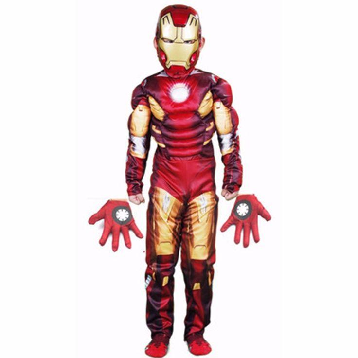 Iron Man cosplay Stark Children's Wear Kids Jumpsuits Onesies Costume (jumpsuits mask gloves)