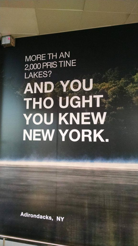 NY State tourism advertisement with excellent kerning.