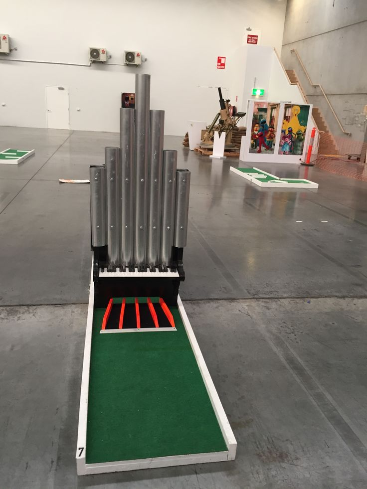 Pipe organ obstacle from Bongo Bounce portable mini golf hire Melbourne