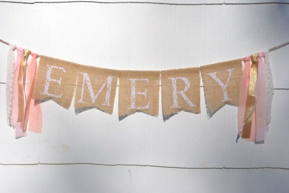 NAME BANNER BABY girl Lace burlap name banner by EmmyJCreations