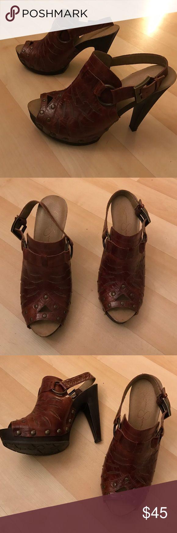 "Brown Jessica Simpson leather aged heels Brown Jessica Simpson leather heels with peep toe. Plastic platform looks wooden. Almost new. Heel hight 5"", platform 1"". Size 8,5 B Jessica Simpson Shoes Heels"